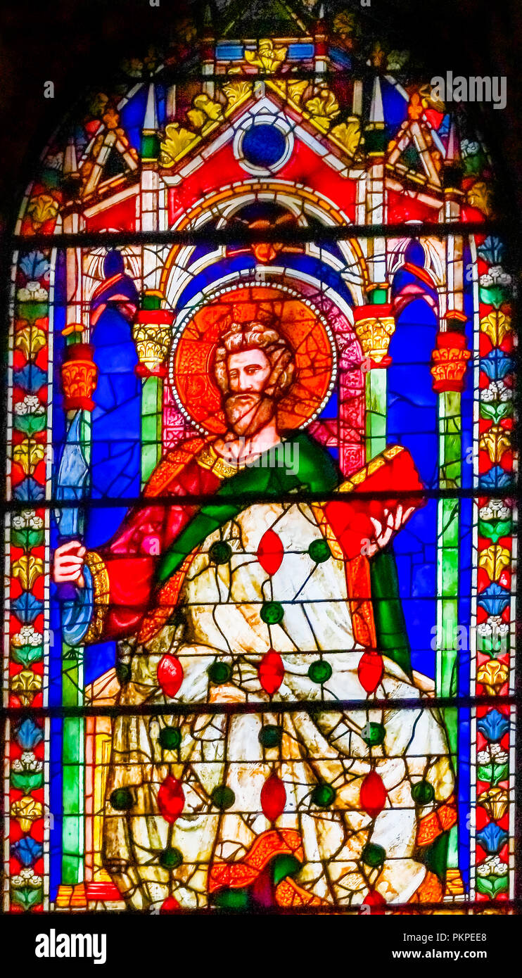 Saint Bartholomew Knife Stained Glass Window Duomo Cathedral Church Florence Italy. Stained glass ifrom 1400 to 1500s. Knife symbol because Saint Bart - Stock Image