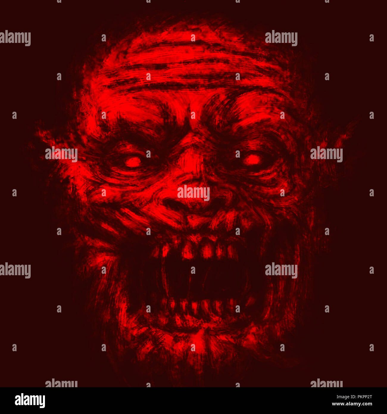 Scary Zombie Face Illustration In Horror Genre Red Background