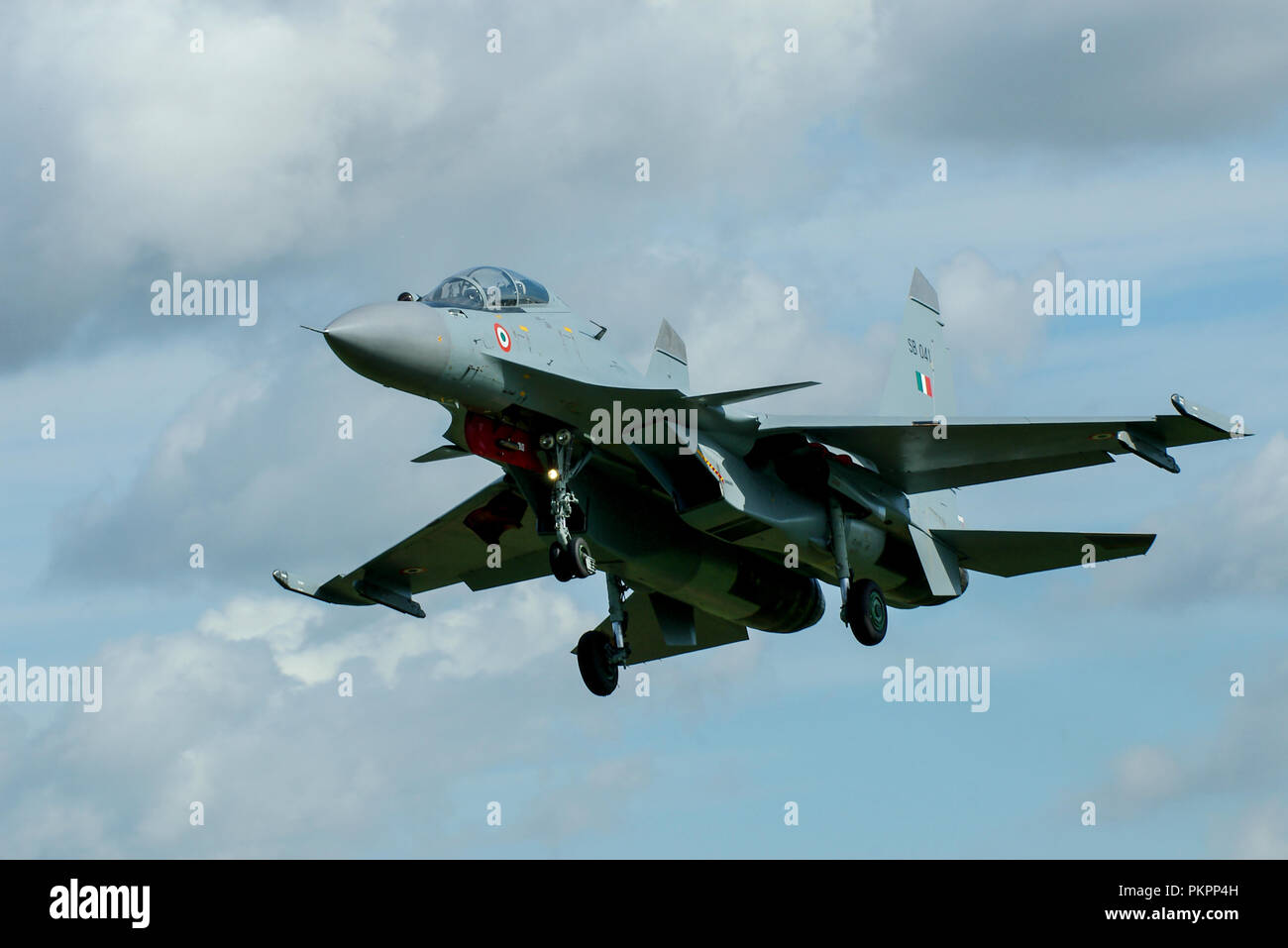 Indian Air Force Sukhoi Su-30MKI fighter jet plane, air superiority fighter. Su30 Flanker H Russian designed, built by Hindustan Aeronautics Limited - Stock Image