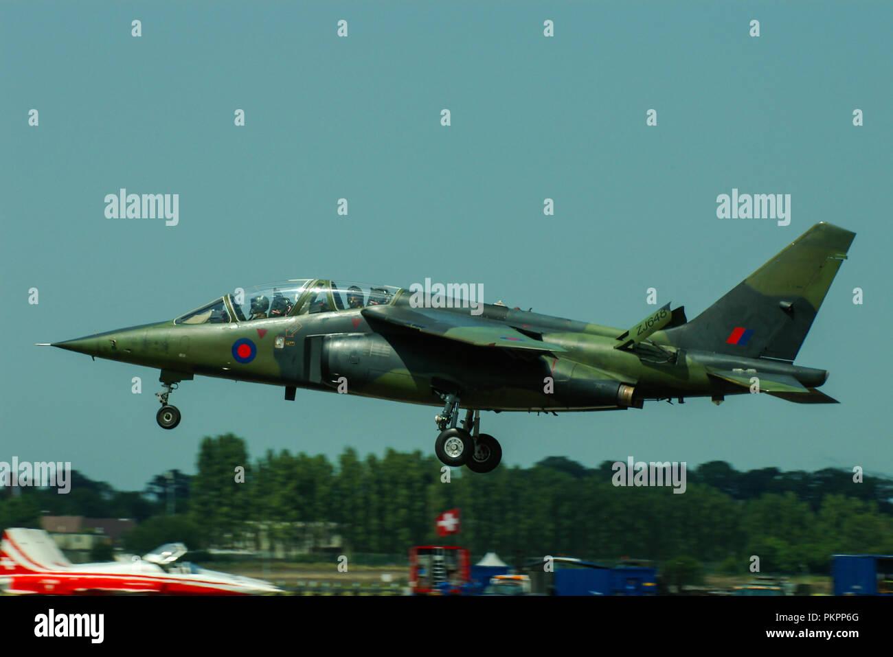 Royal Air Force RAF Dassault/Dornier Alpha Jet trainer plane ZJ648. QinetiQ test aircraft. Alpha Jet A ex German Air Force - Stock Image