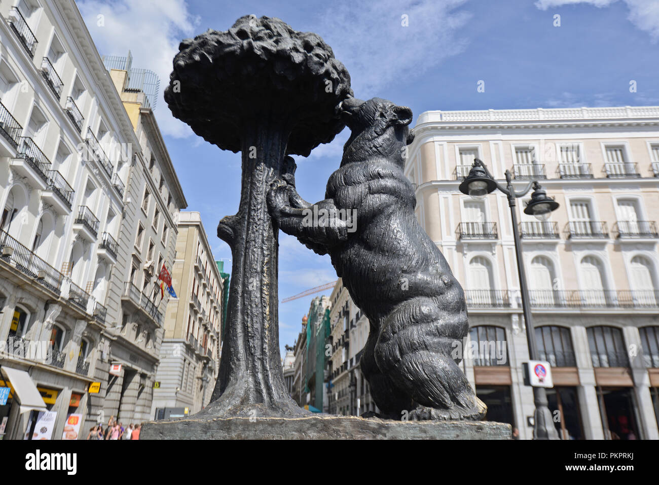 Statue of the Bear and the Strawberry Tree. Plaza Mayor (Main Square), Madrid, Spain - Stock Image