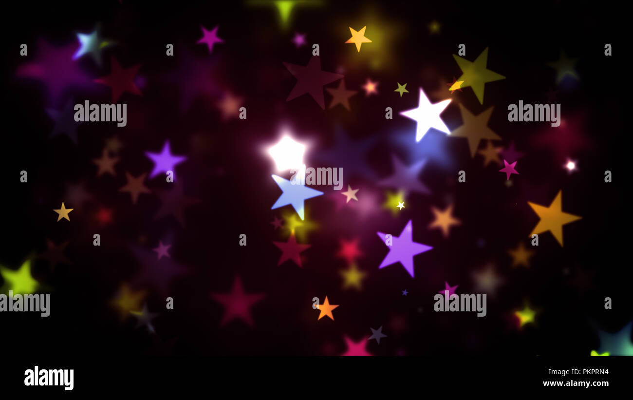 Abstract Background Colorful Stars Generating Cool Bokeh