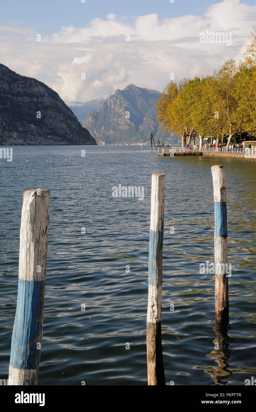 Italy, Lombardy, Lago d'Iseo, Iseo, waterfront view. - Stock Image