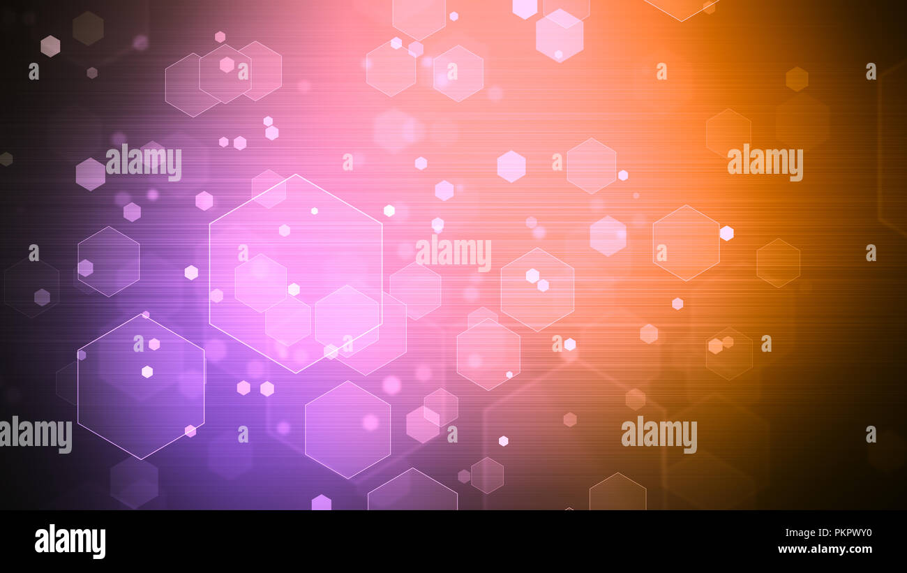 Background with abstract particles and hexagon shapes. 8K Ultra HD Resolution at 300dpi - Stock Image