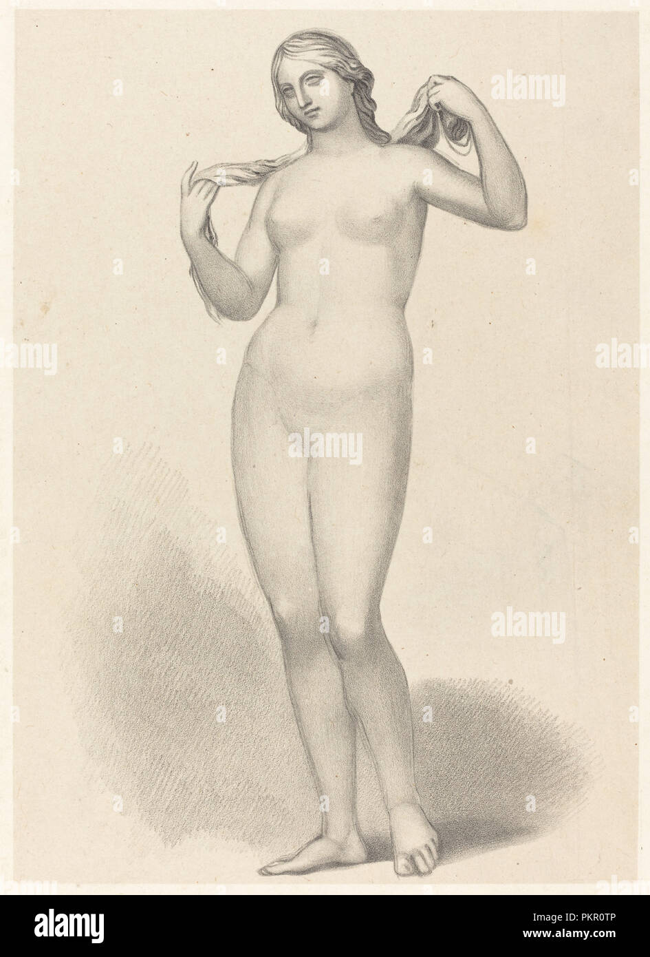 Venus Aphrodite, by Alcamanes. Dated: published 1829. Medium: lithograph [proof before letters]. Museum: National Gallery of Art, Washington DC. Author: Richard James Lane after John Flaxman. - Stock Image