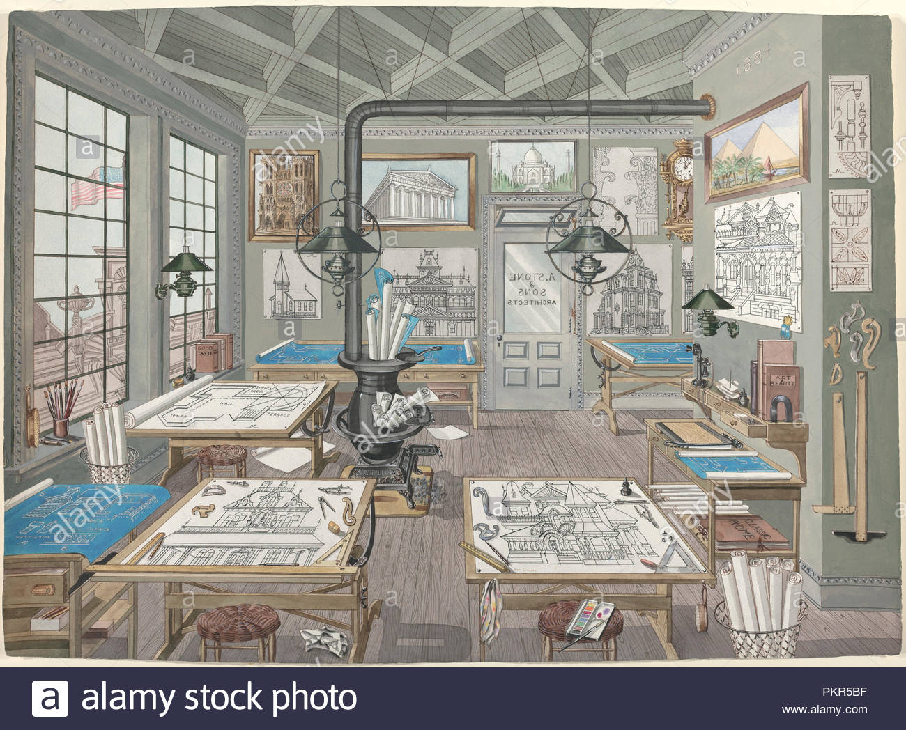 architect s drafting room 1884 dated 1935 1942 dimensions