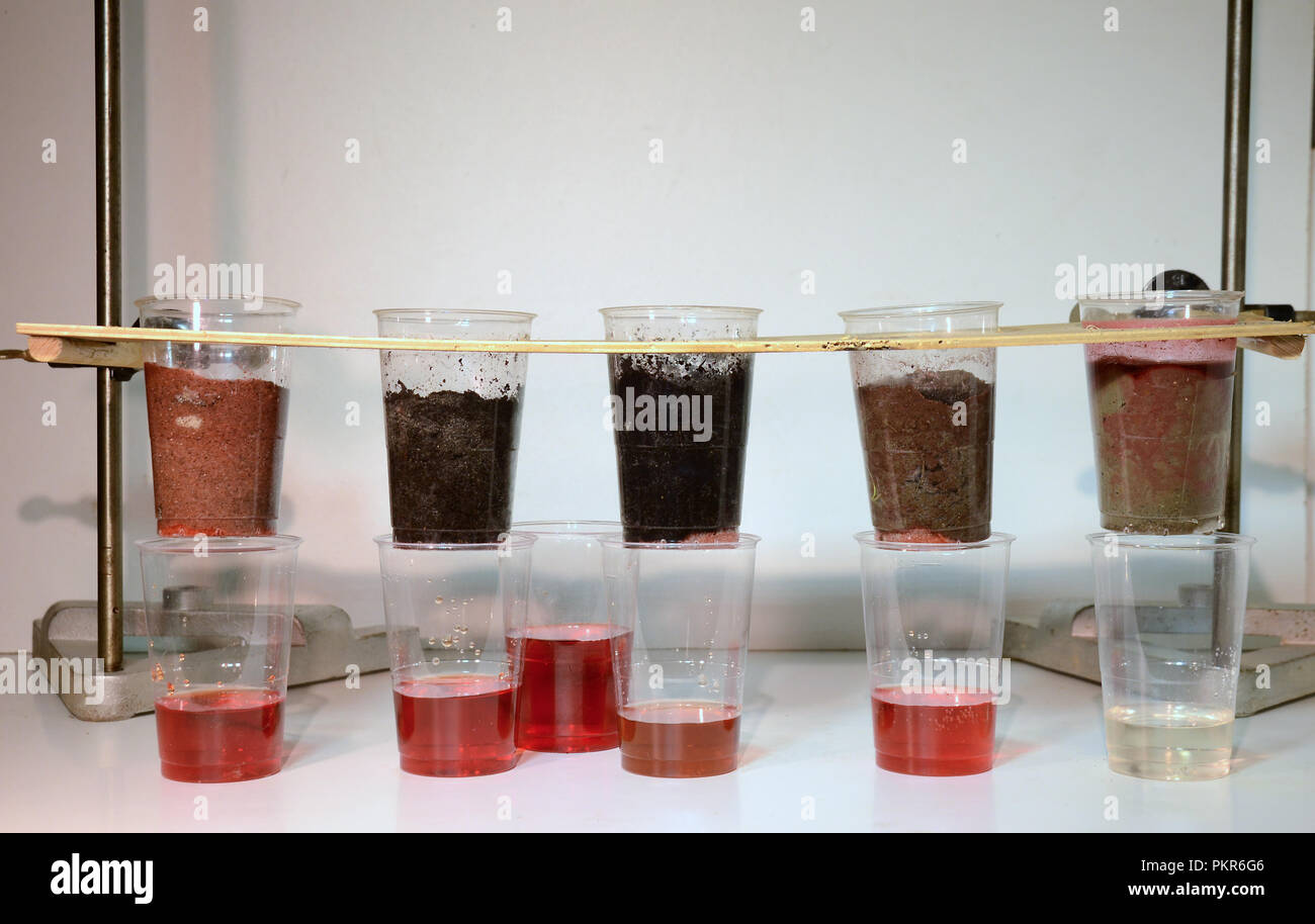 Colored water is poured trough 5 samples of soil:(l>r)sand, sandy soil, peat, humus and clay. The soil types ability to store and filter water (for pe - Stock Image