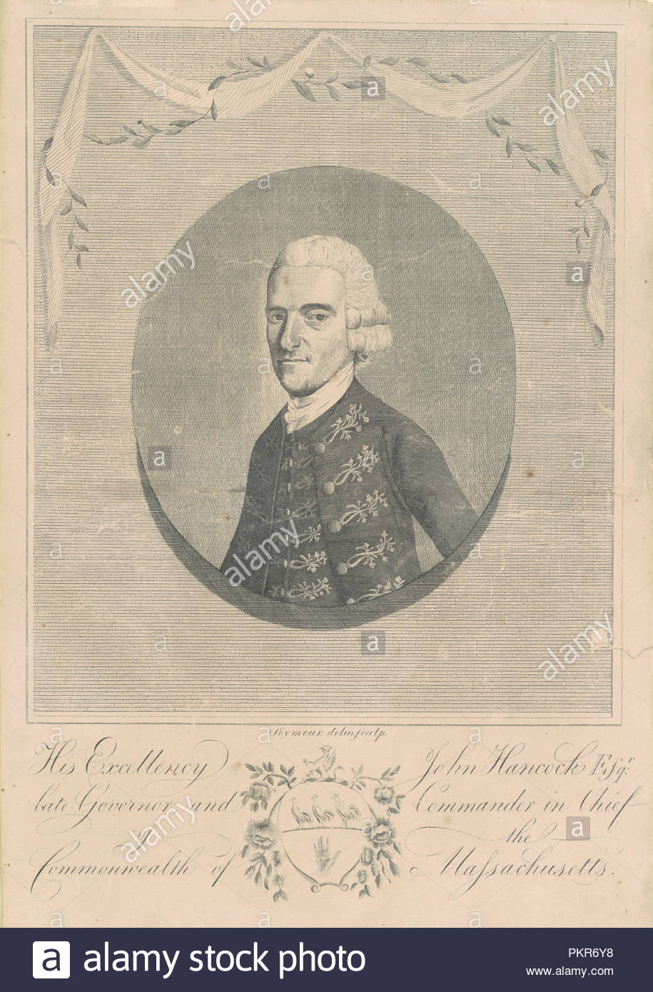 His Excellency John Hancock, Esquire. Dated: c. 1794. Dimensions: sheet: 33.34 × 23.5 cm (13 1/8 × 9 1/4 in.). Medium: engraving in black on wove paper. Museum: National Gallery of Art, Washington DC. Author: Joseph H. Seymour. - Stock Image