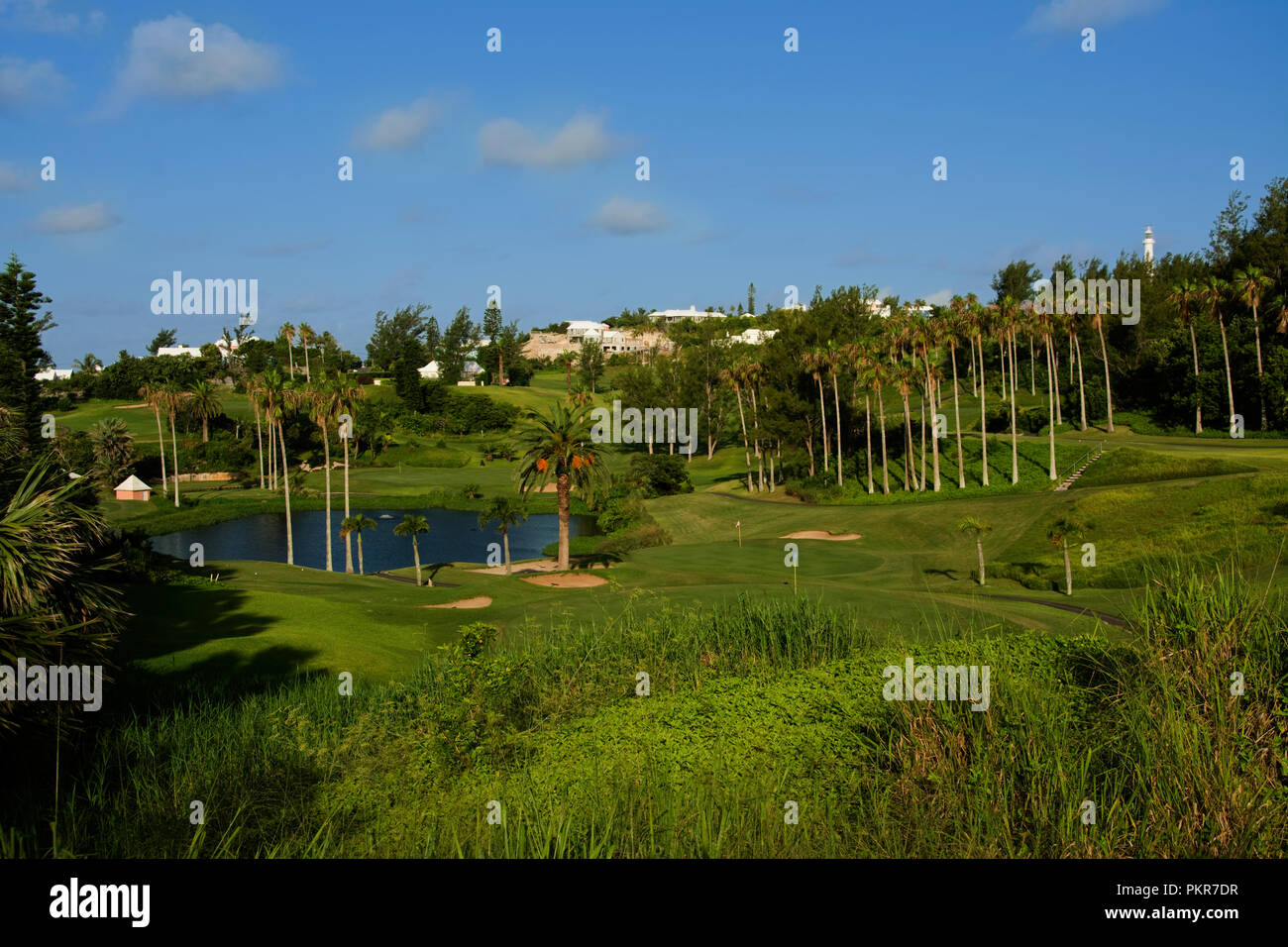 Atlantic Ocean, Bermuda, Southampton Parish, Fairmont Hotel golf course - Stock Image
