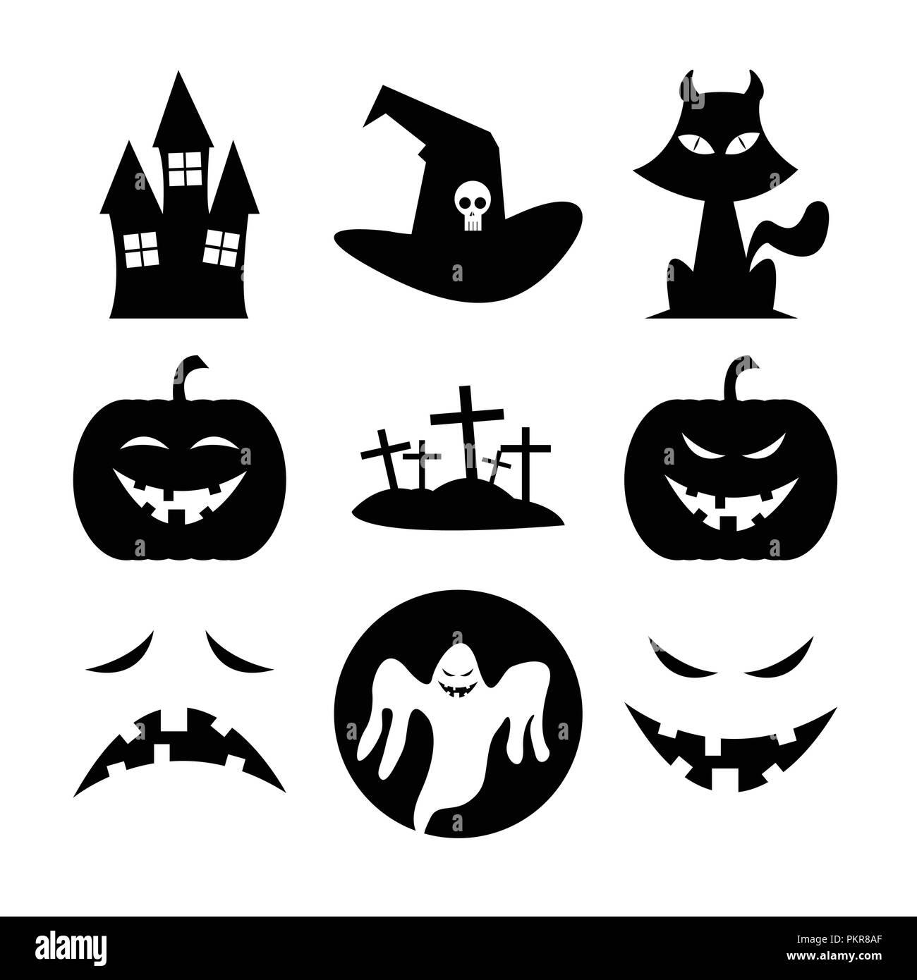 Halloween Black Fun Silhouette Icon Vector Illustration Symbol