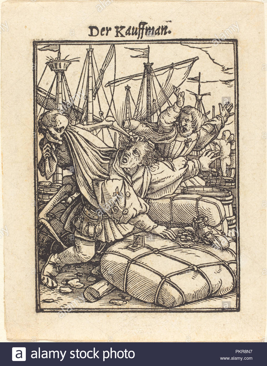 Merchant. Medium: woodcut. Museum: National Gallery of Art, Washington DC. Author: Hans Holbein the Younger. - Stock Image