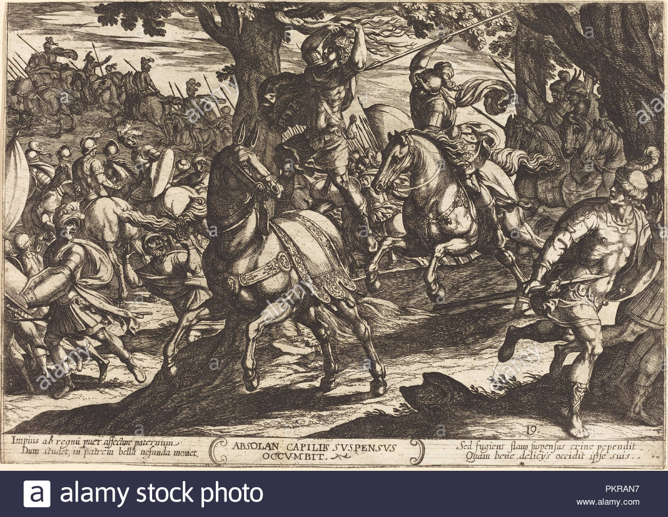 Jacob Kills Absalom, Son of King David. Dated: 1613. Medium: etching.  Museum: National Gallery of Art, Washington DC. Author: Antonio Tempesta.
