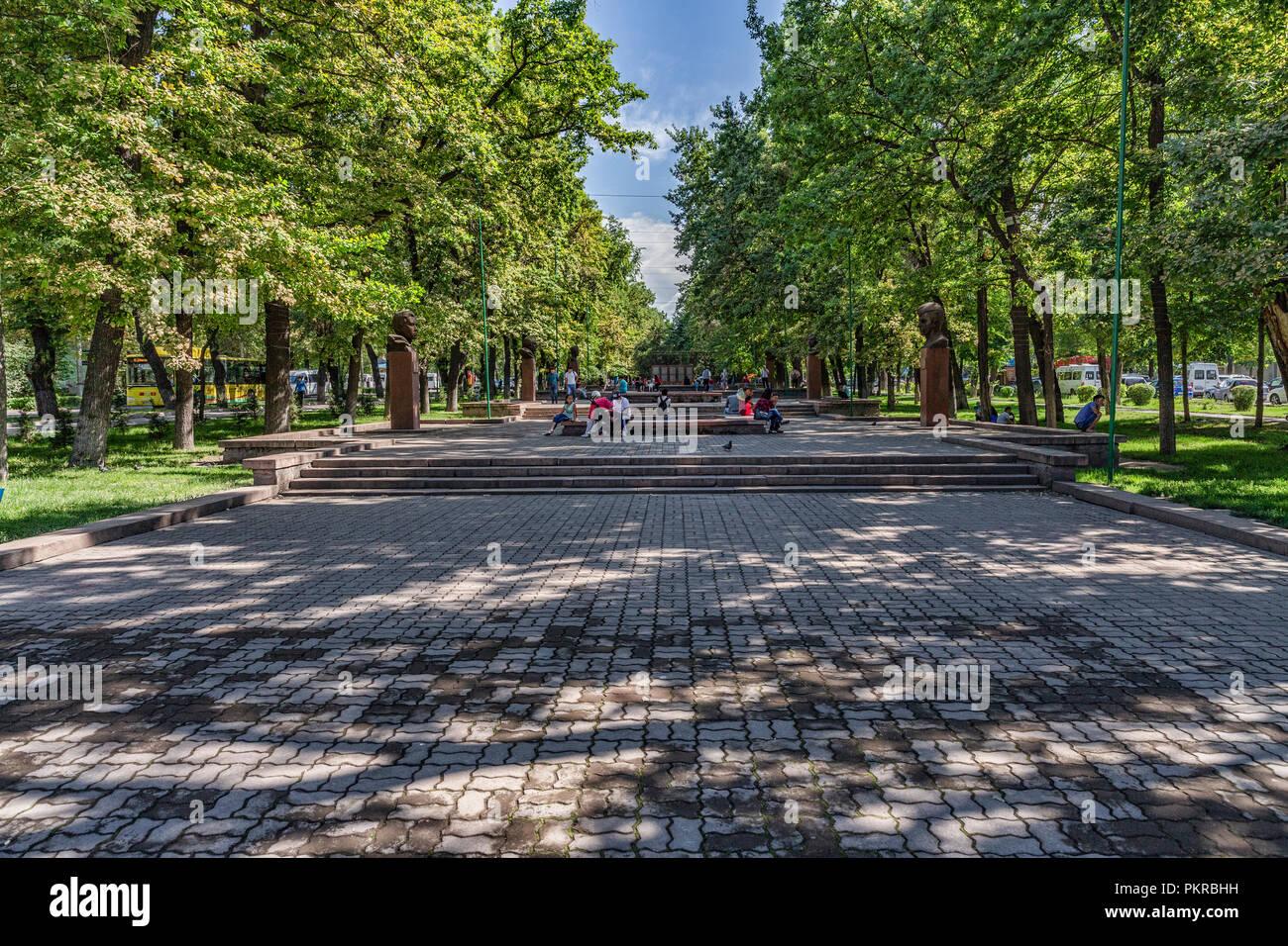 Images of parks in Bishkek, the wonderful, walkable capital of Kyrgyzstan. - Stock Image