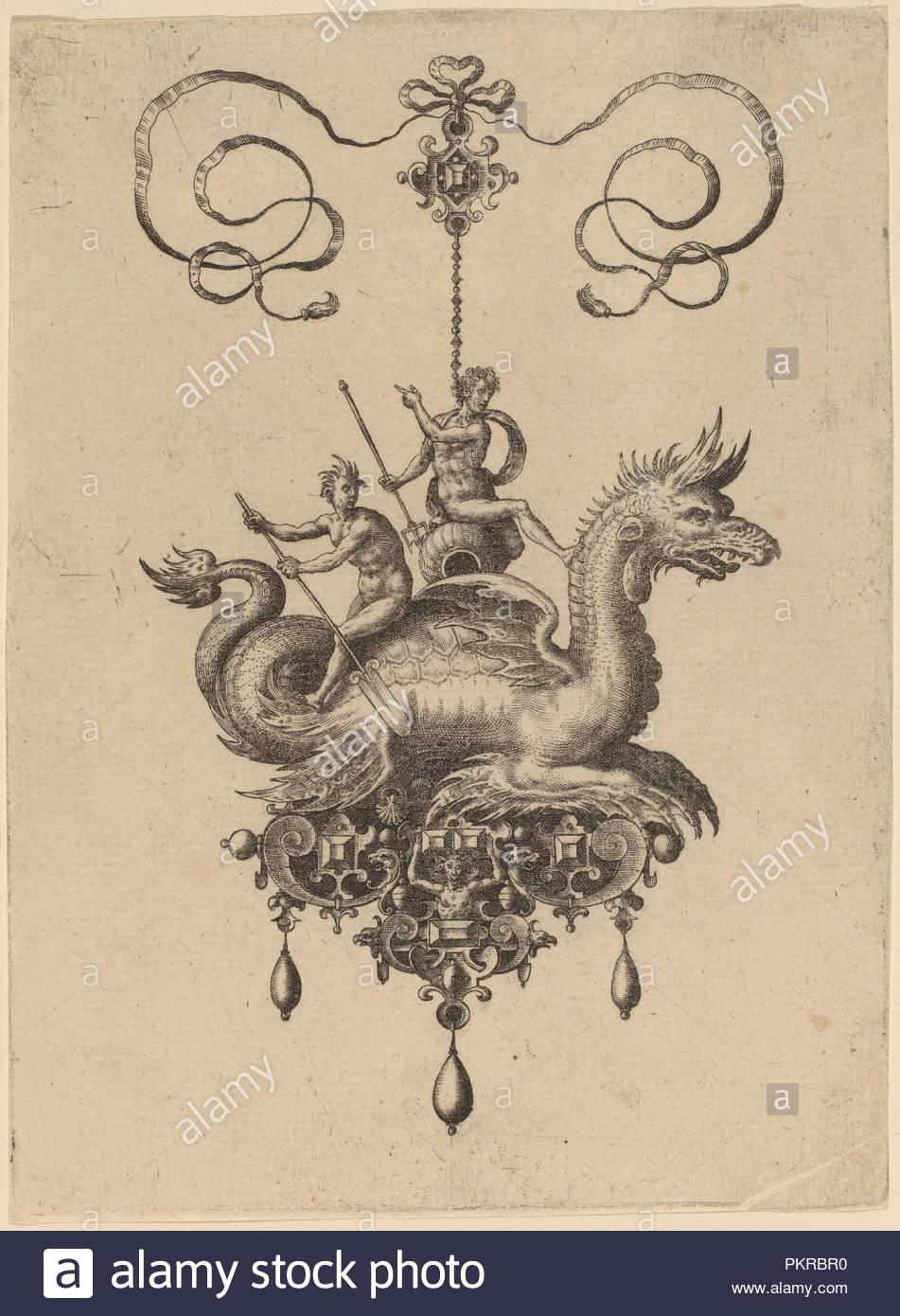 Jewelry Design. Dated: 1582. Medium: engraving. Museum: National Gallery of Art, Washington DC. Author: HANS COLLAERT. - Stock Image