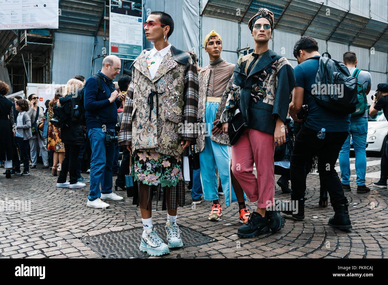 MILAN, ITALY - SEPTEMBER 23, 2017: Outside ANTONIO MARRAS Show at Milan Fashion Week Spring/Summer 2018 - Stock Image