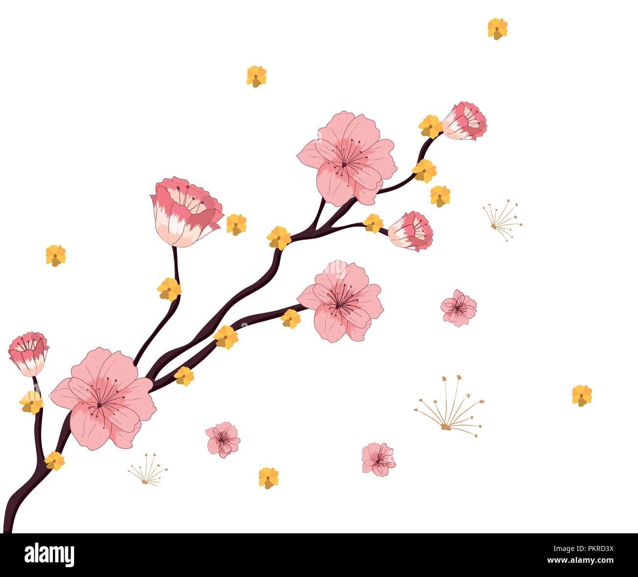 Pink flower pattern background - Stock Image