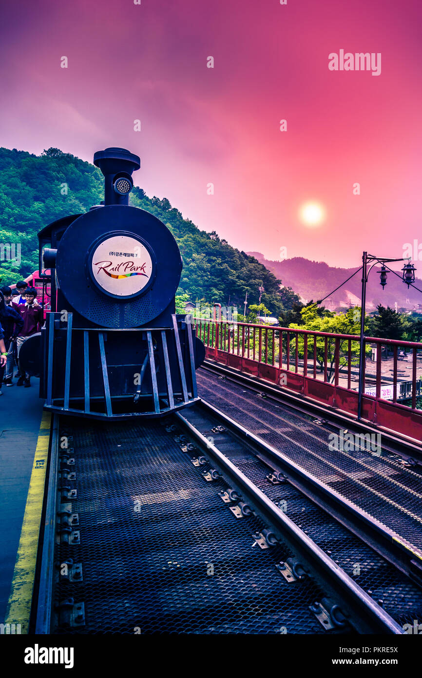 Gapyeong, South Korea - May 12,2017: Gangchon Rail Park railbike and train ride is located in Gapyeong, near Nami Island and Petite France. - Stock Image