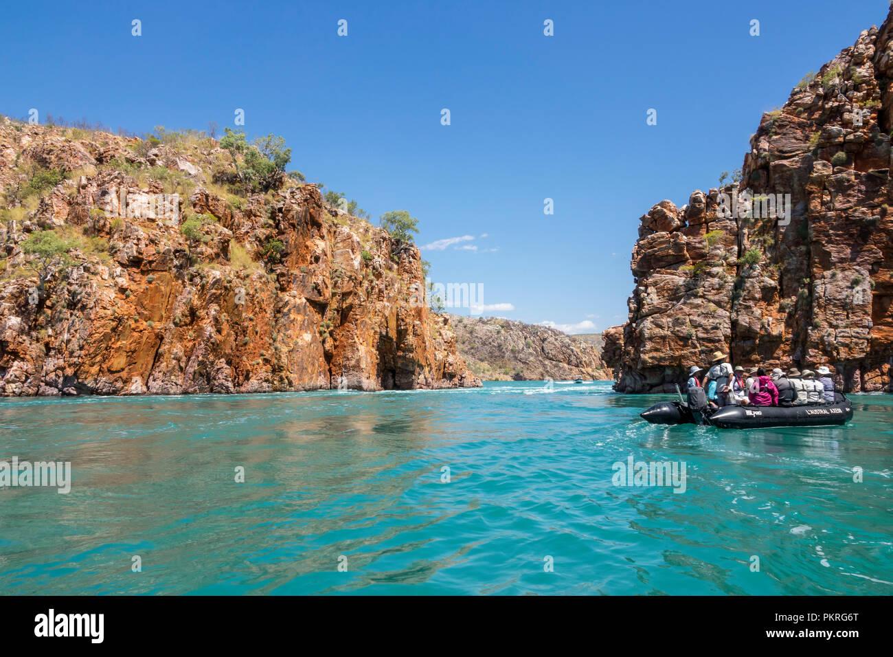Zodiac cruising around Talbot Bay, Kimberley, Western Australia - Stock Image