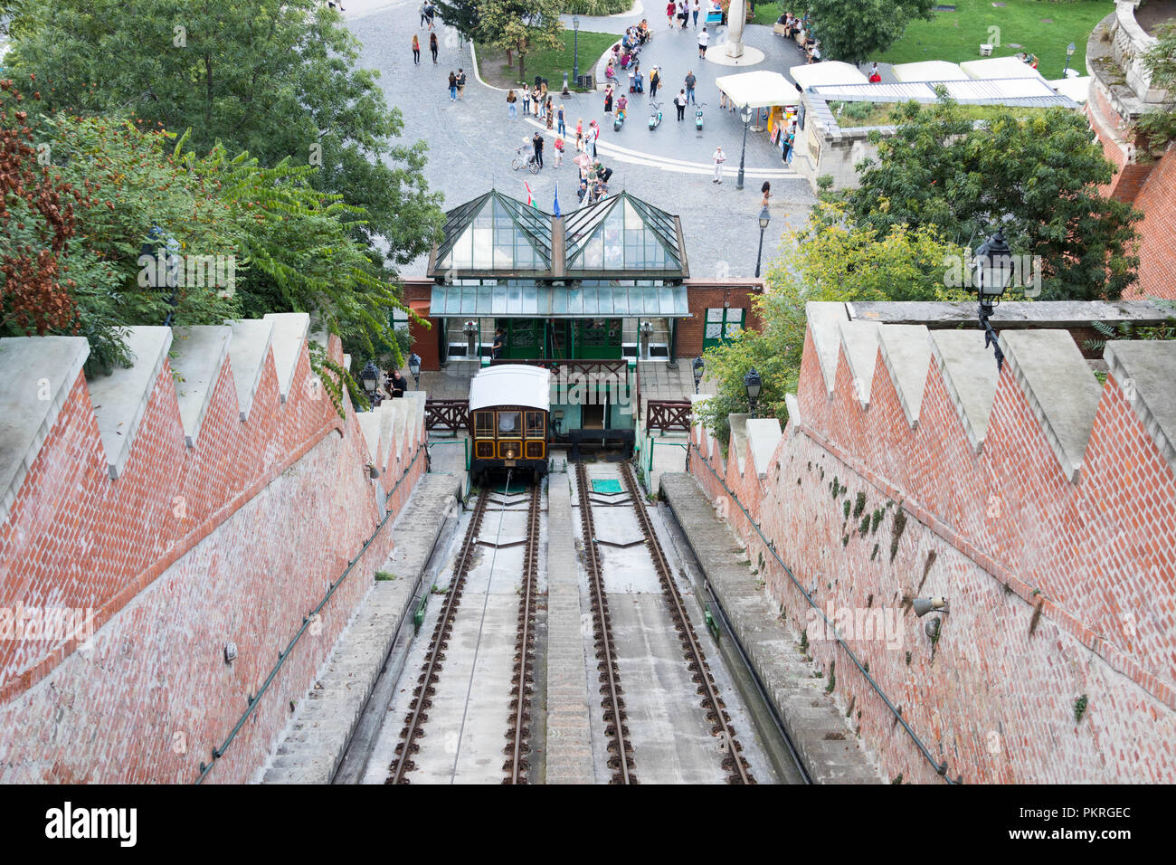 Funicular Budapest old vintage little train tourist station Stock Photo