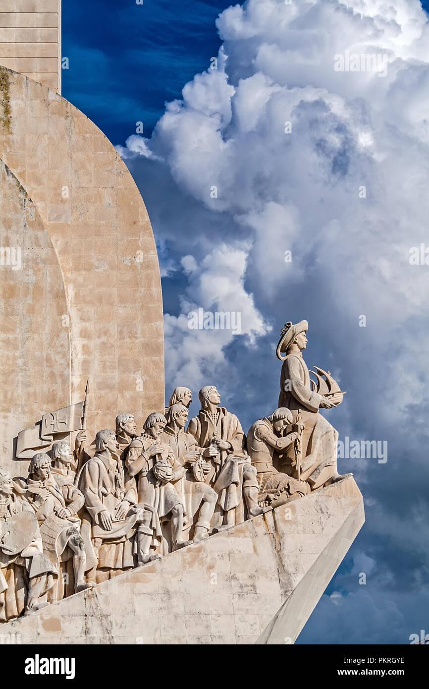 Lisbon, Portugal - November 05, 2017: Padrao dos Descobrimentos monument. The Sea Discoveries Monument commemorates the navigators who explored the oc - Stock Image