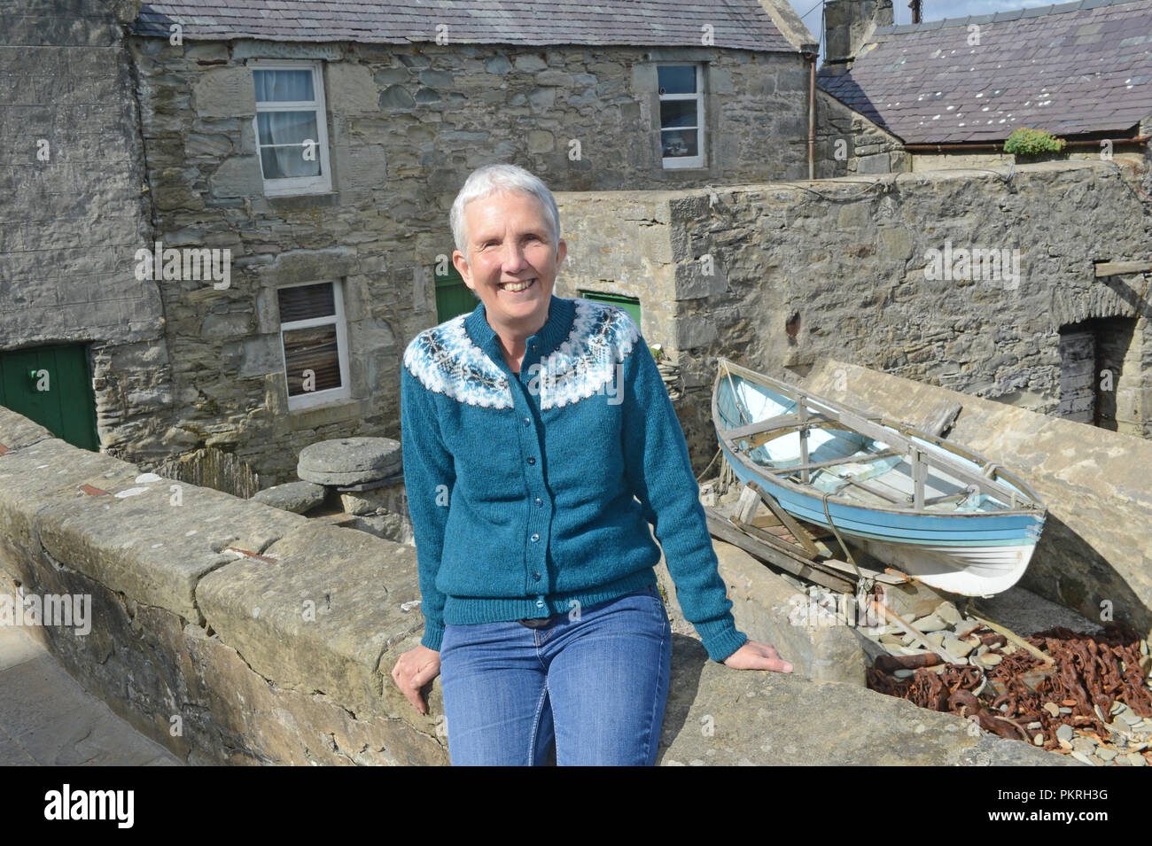 Ann Cleeves Shetland author outside of her character Jimmy Perez home in the TV series Shetland produced by ITV and BBC - Stock Image
