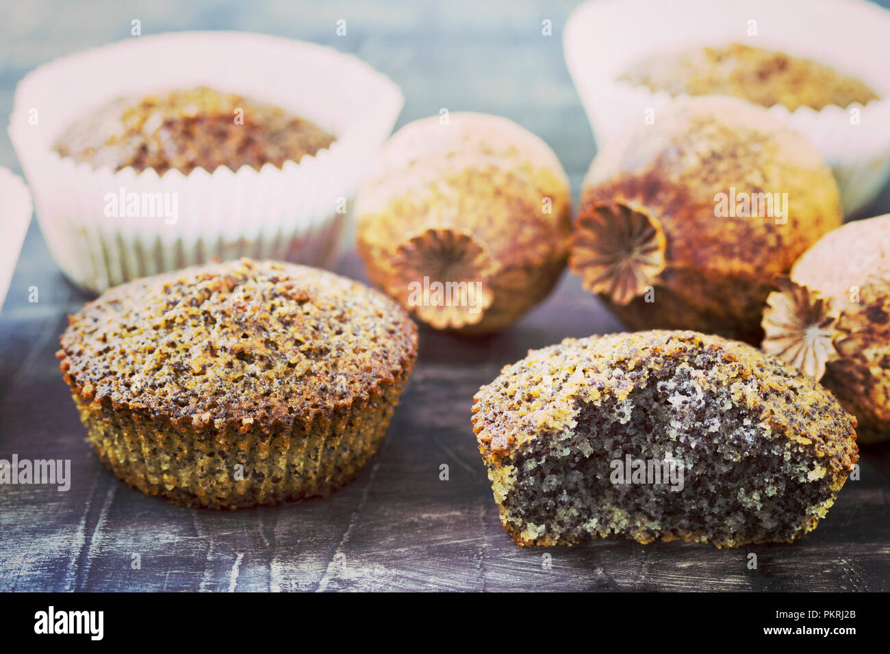Muffins with poppy seeds on a table - Stock Image