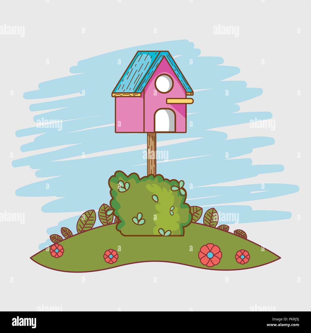Bird house cartoon - Stock Vector