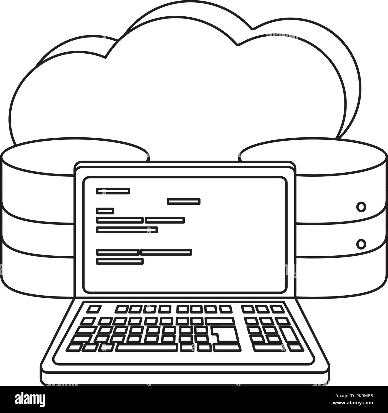 outline cloud data and computer system code - Stock Image