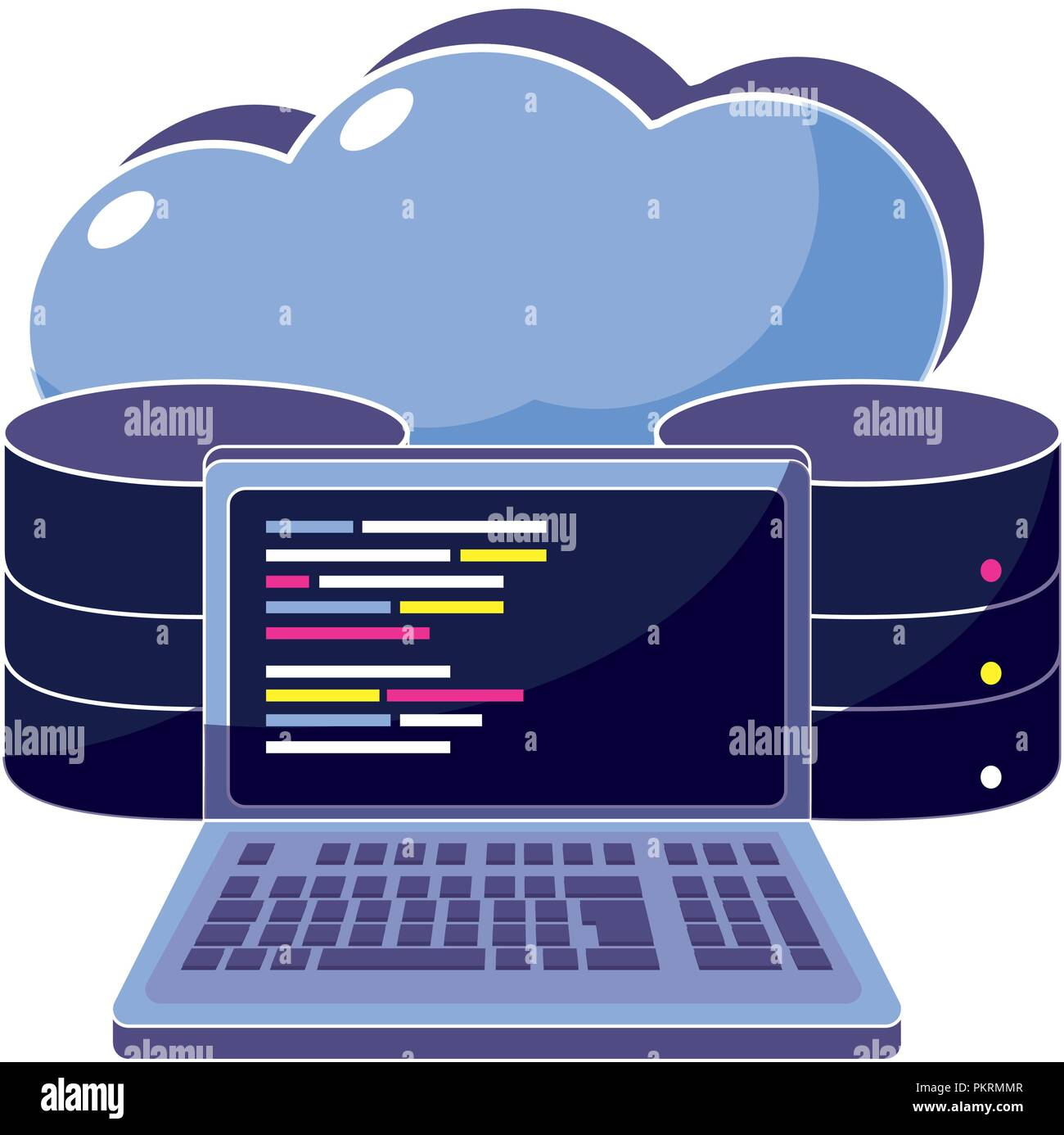 cloud data and computer system code - Stock Image