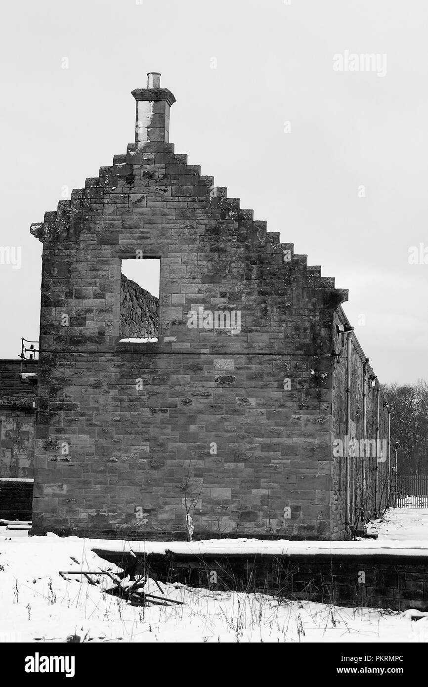 HARTWOOD, SCOTLAND- DECEMBER 03 2011: A ruin building on the grounds of Hartwood Hospital. Hartwood Hospital is a 19th-century psychiatric hospital. - Stock Image