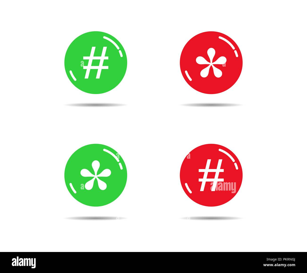 Green and red buttons with asterisks and bars - Stock Image