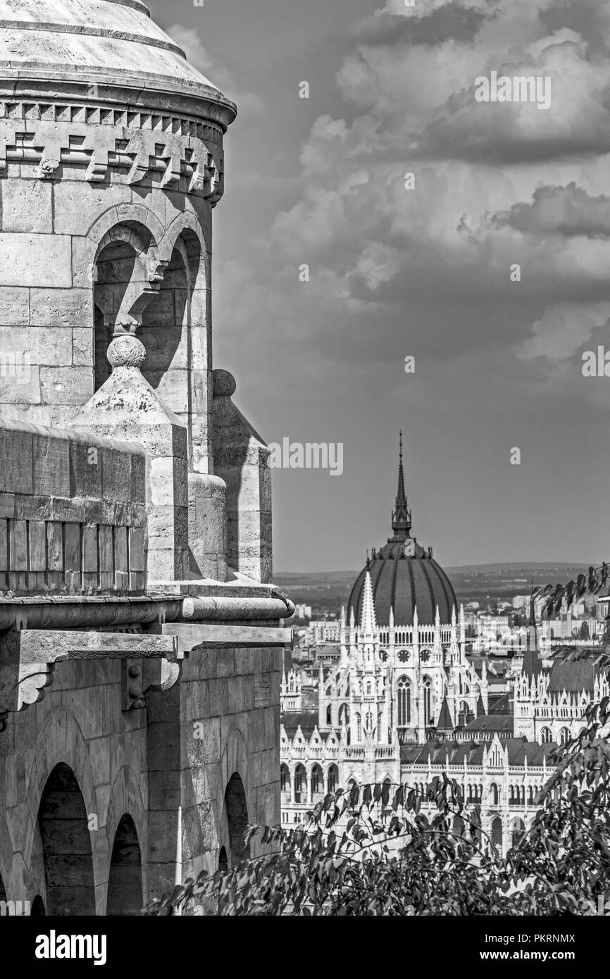 Hungarian Parliament from Fishermans Bastion - Stock Image