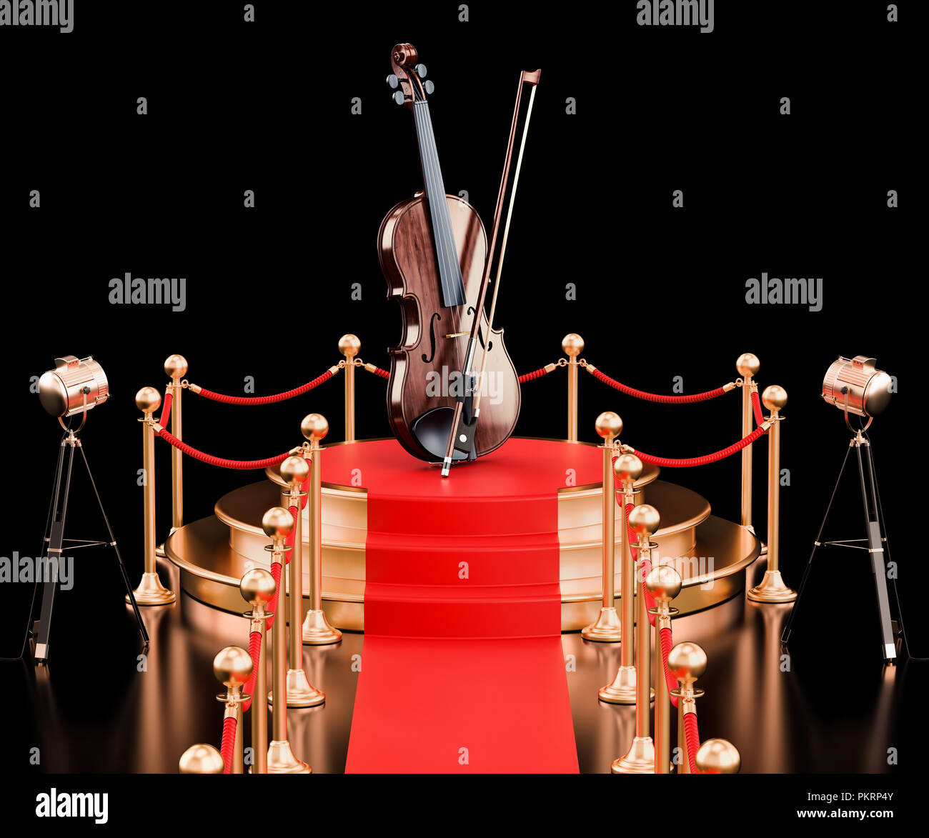 Podium with violin and bow, 3D rendering - Stock Image