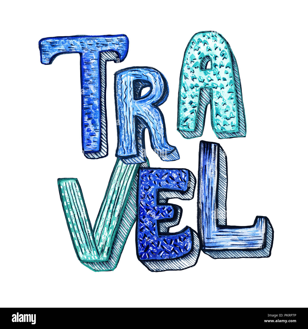 travel hand drawn lettering with word travel and patterned fill for