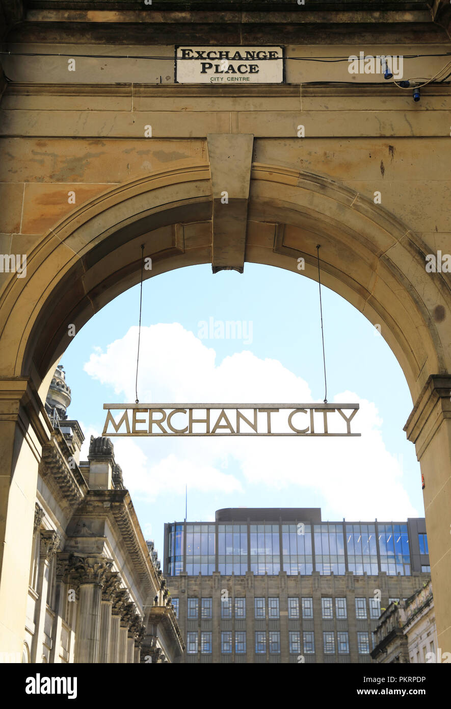 Exchange Place in Merchant City, in Glasgow, in Scotland, UK - Stock Image