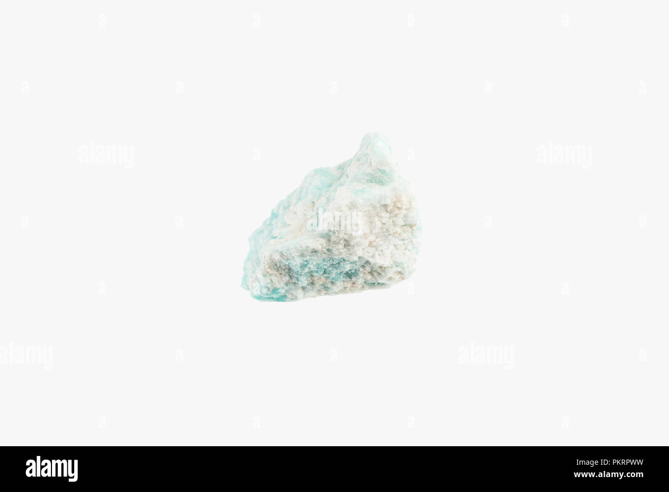 Bright Raw turquoise Amazonite from Brazil isolated - Stock Image