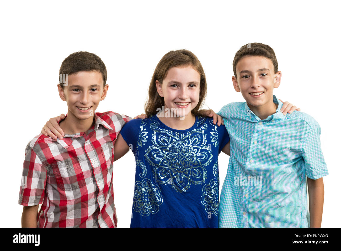 Tweenager triples, two brothers and one sister, embracing