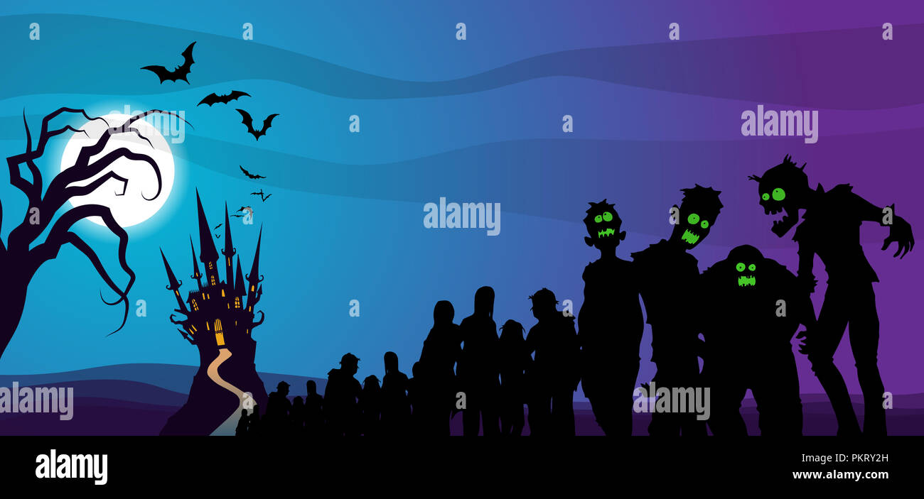 Haunted Castle with bats and a Zombie Horde approaching at night - Stock Image