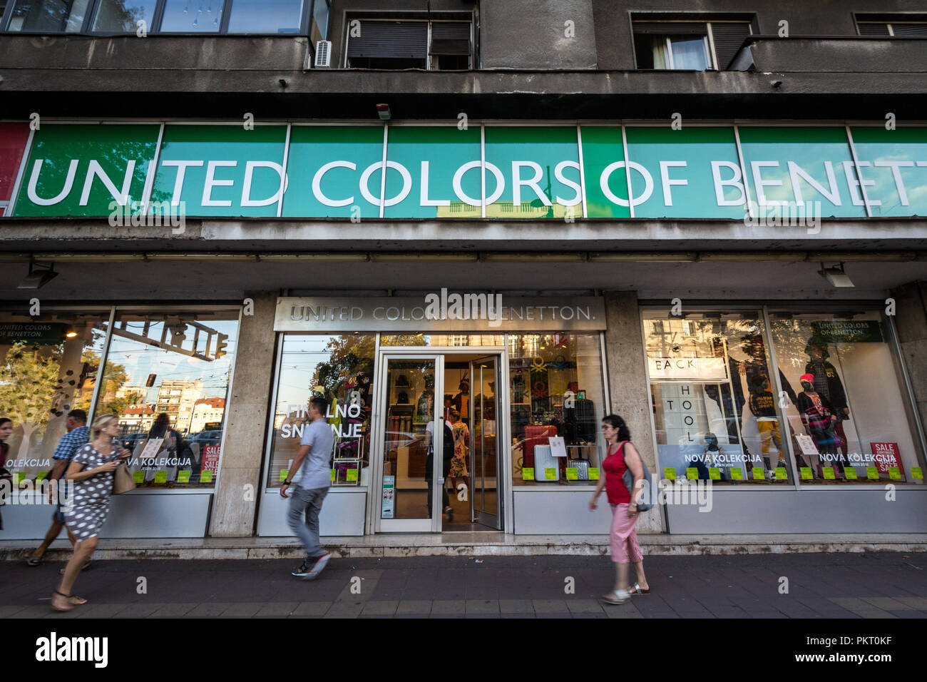 BELGRADE, SERBIA - SEPTEMBER 12, 2018: United Colors of Benetton logo on their main shop in Belgrade Benetton Group is one of the biggest textile and  - Stock Image