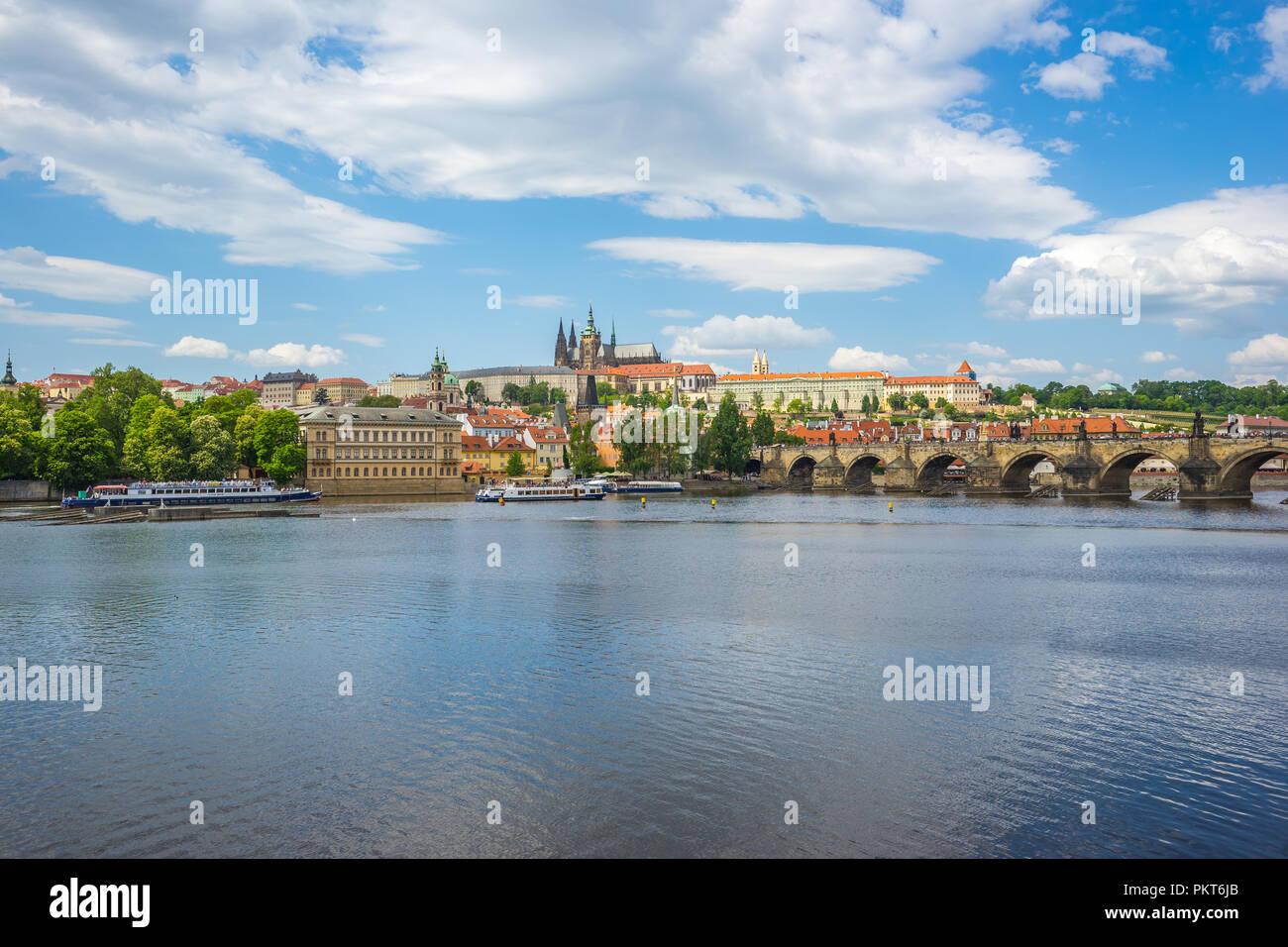 Vltava river with view of Prague skyline Czech Republic. - Stock Image