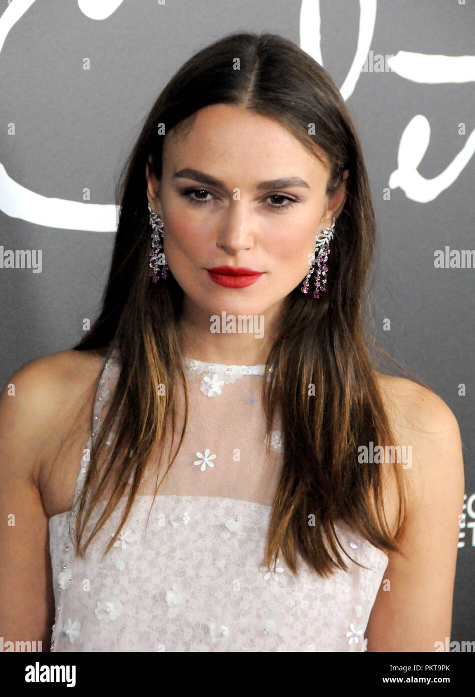 BEVERLY HILLS, CA - SEPTEMBER 14: Actress Keira Knightley attends Los Angeles Special Screening of 'Colette' at The Academy's Samuel Goldwyn Theater in Beverly Hills, California. Photo by Barry King/Alamy Live News - Stock Image