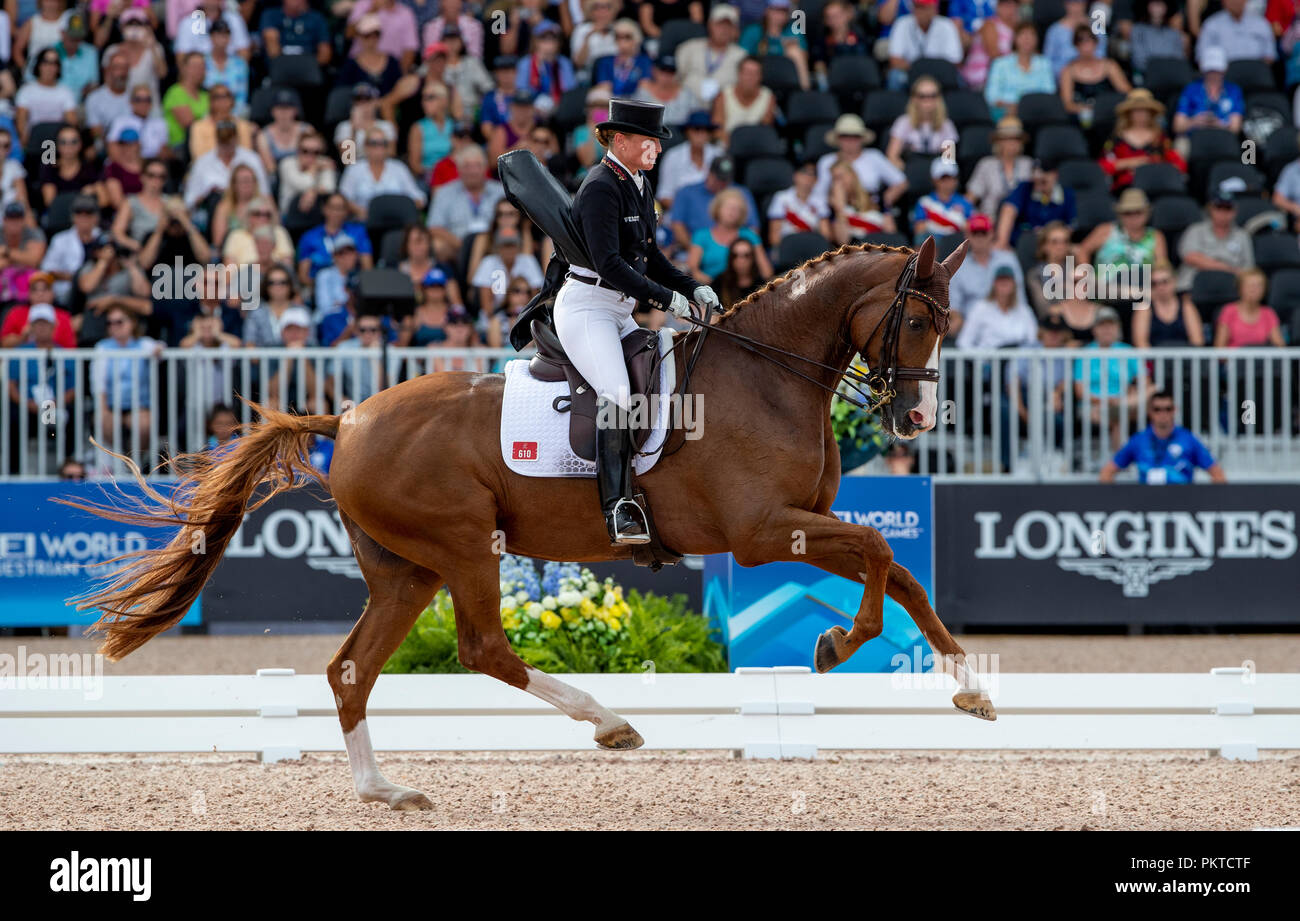Tryon, USA. 14th Sep, 2018. Riding, FEI World Equestrian Game 2018, Grand Prix Special: Isabell Werth from Germany in action on Bella Rose. Credit: Stefan Lafrentz/dpa/Alamy Live News Stock Photo