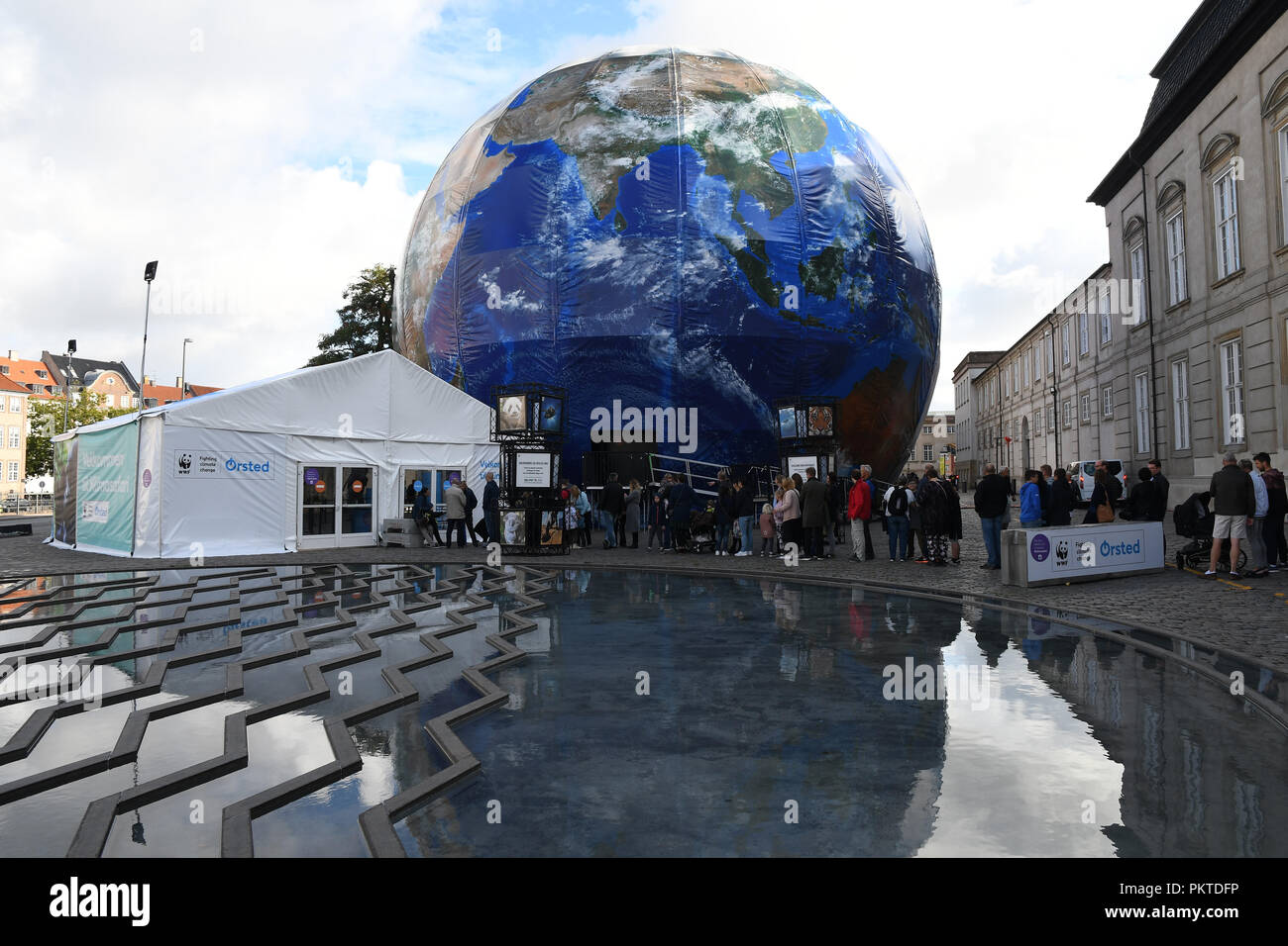 Copenhagen/Denmark 15.September 2018..  Visitor stand in line to visit Climate panet exhbition on saturday message loe your home.  (Photo.Francis Joseph Dean / Deanpictures. Credit: Francis Joseph Dean / Deanpictures/Alamy Live News - Stock Image