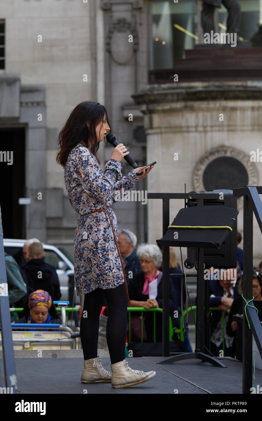 London, UK. 15th September 2018.  Naomi Colvin, a supporter of the direct action group Occupy, speaking at the Change Finance Rally outside the Royal Exchange in the City of London. Credit: Kevin Frost/Alamy Live News - Stock Image