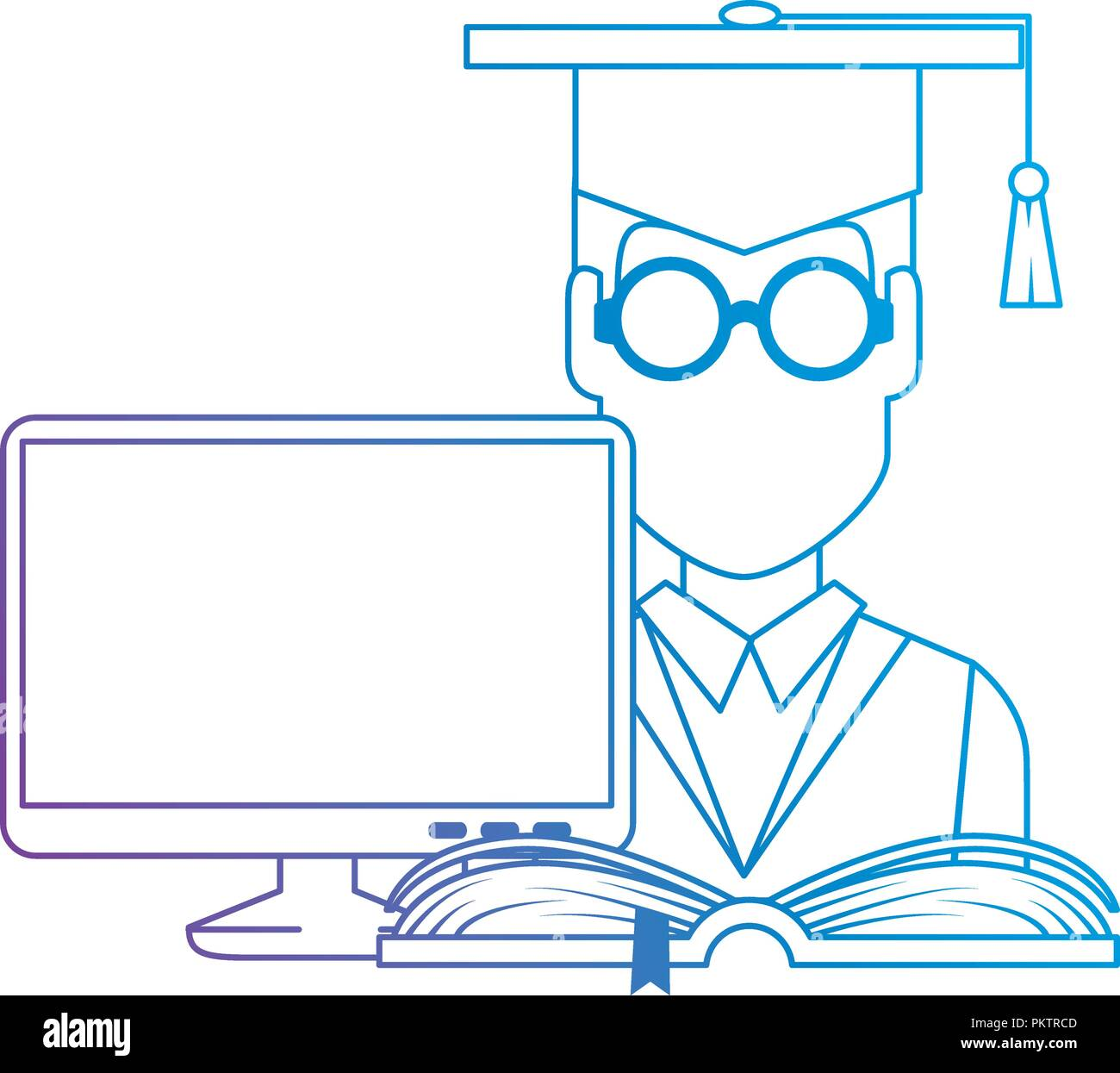student graduation with computer and book - Stock Image