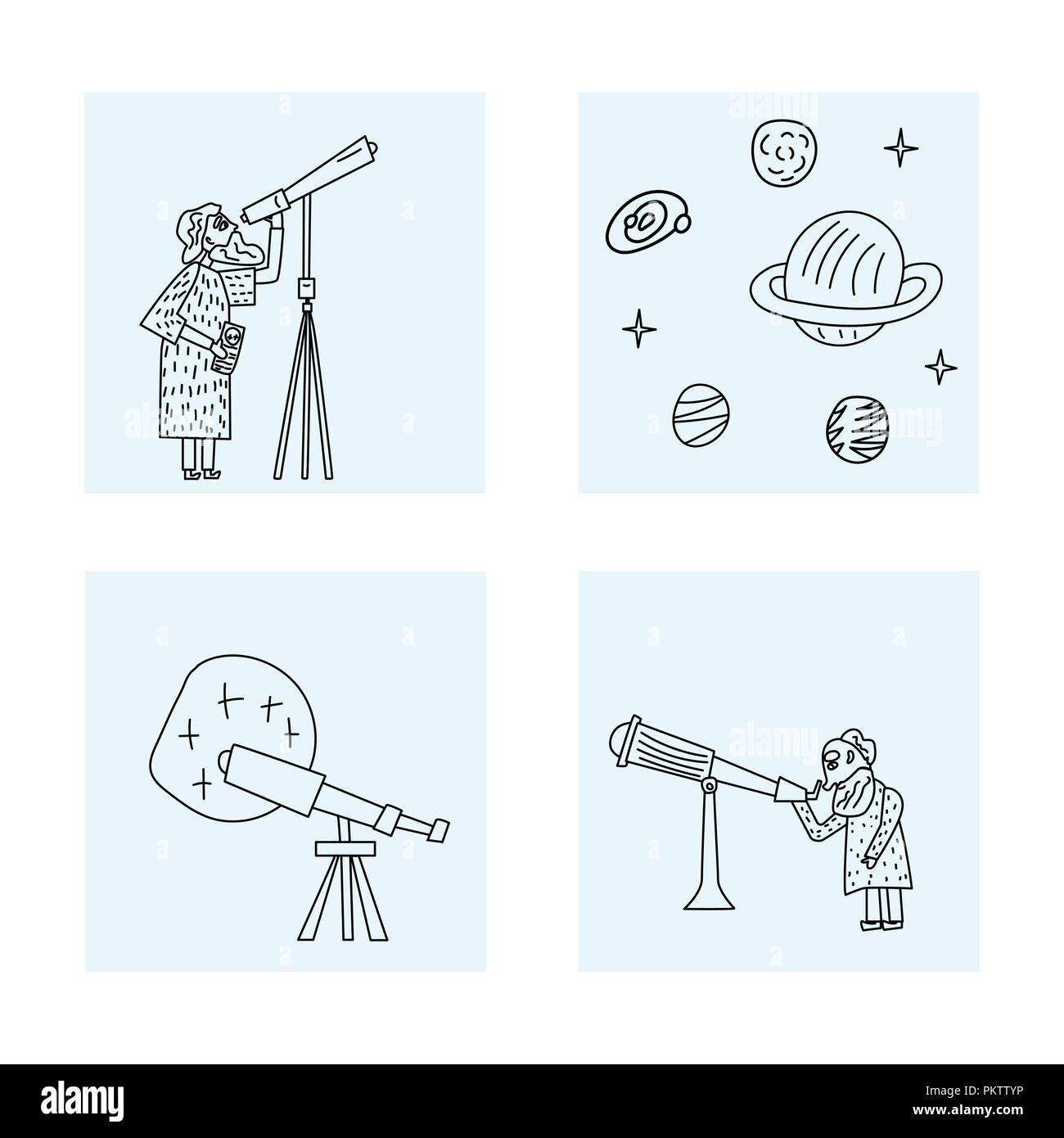 Vector square set design of astronomer and astronomic objects. - Stock Vector
