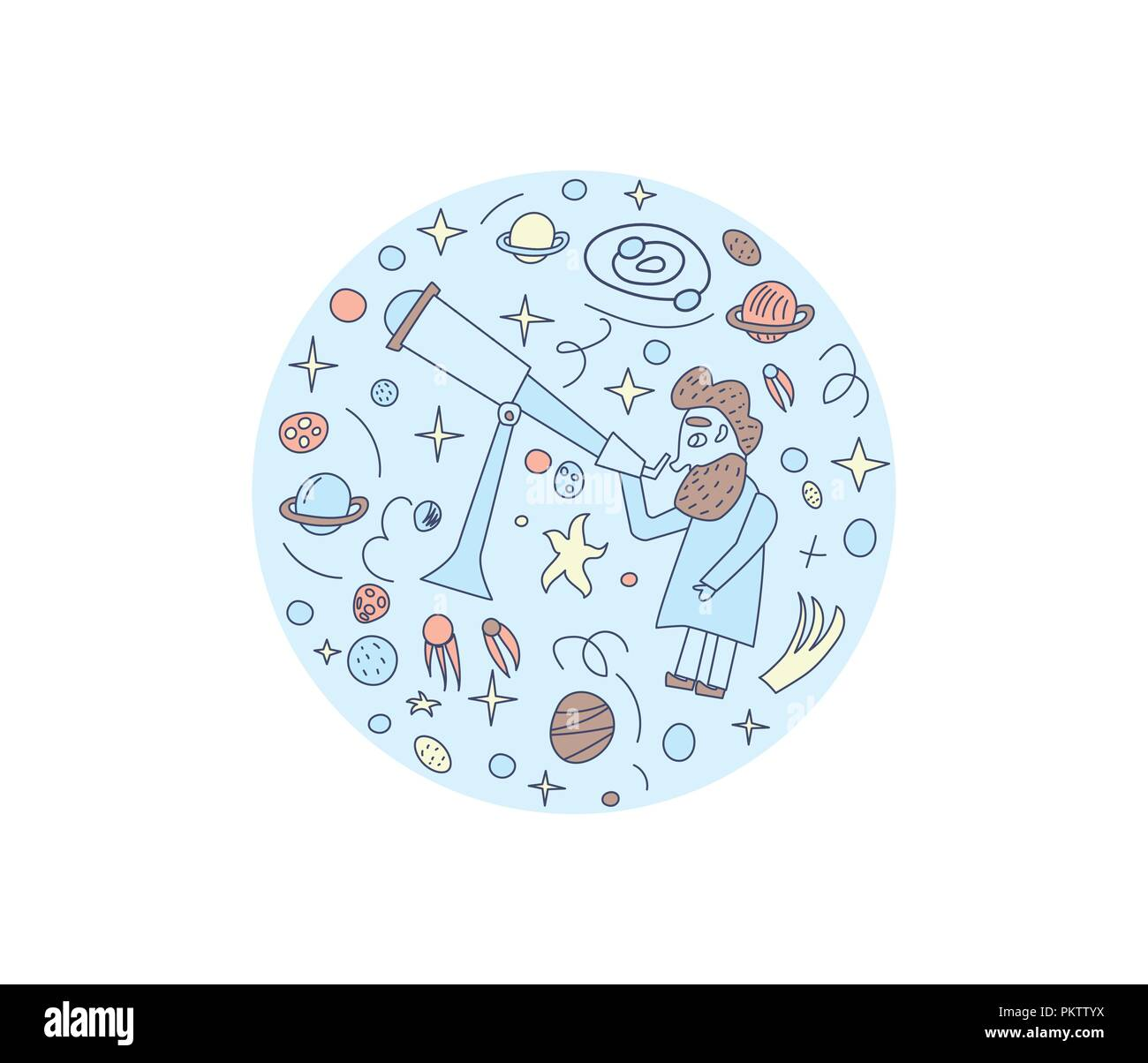 Vector round design of astronomer and astronomic objects. - Stock Vector
