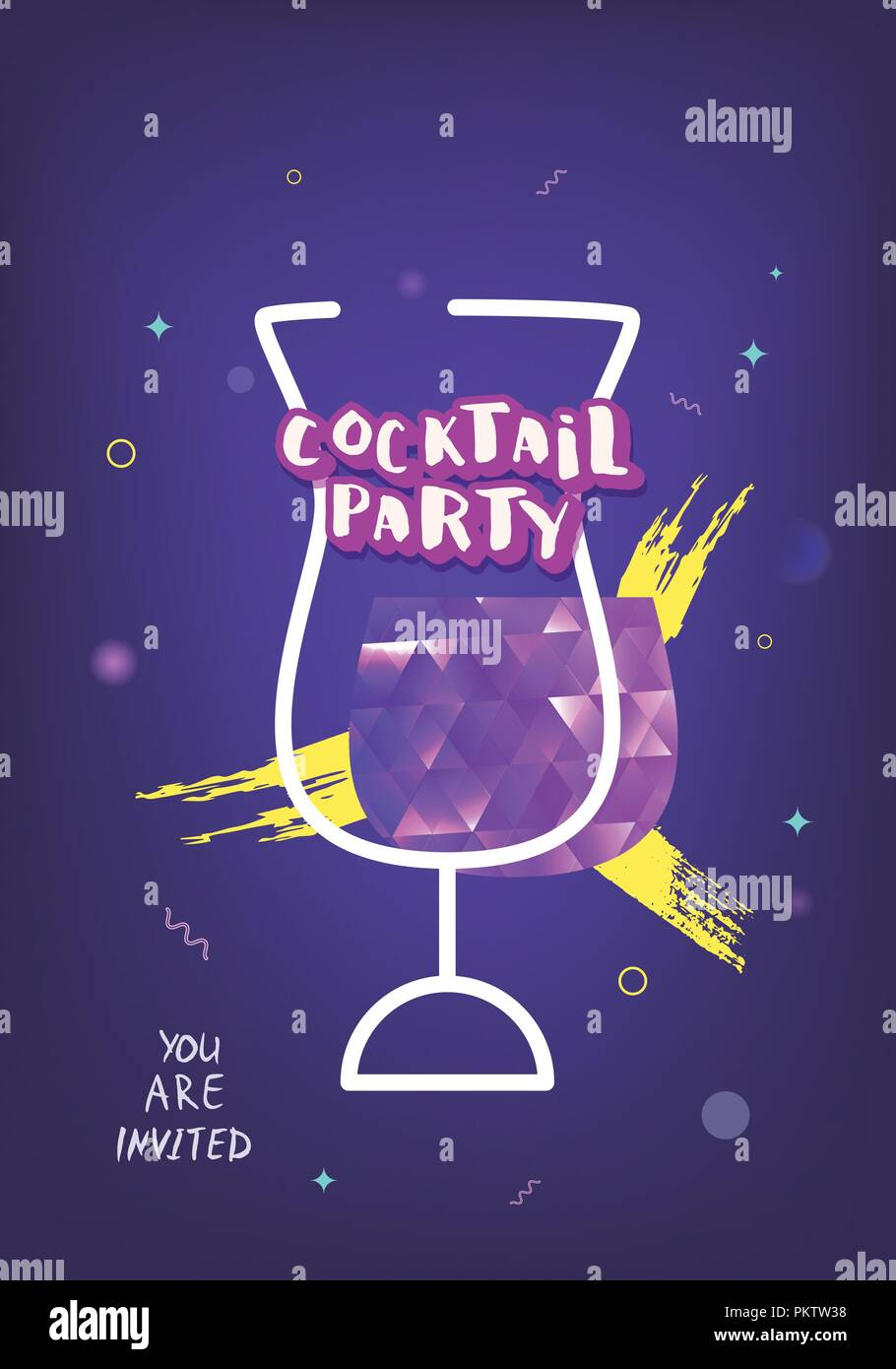 Cocktail Party Card Template Holiday Banner With Shine