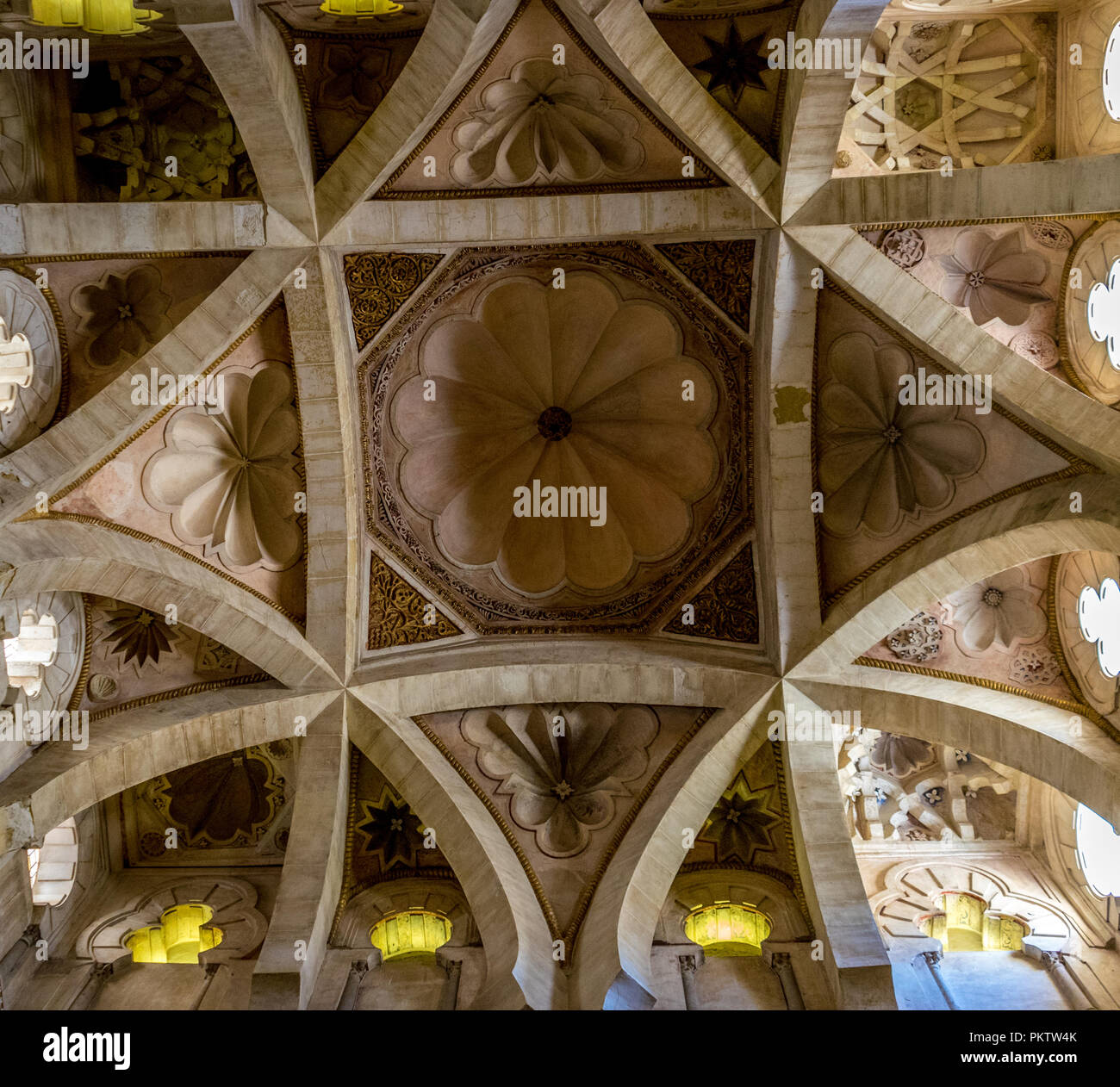 Cordoba, Spain - June 20, 2017: Intricate trapezoidal design with flower petals on the ceiling of the Msque Church in Cordoba, Spain, Europe, Andaluci - Stock Image