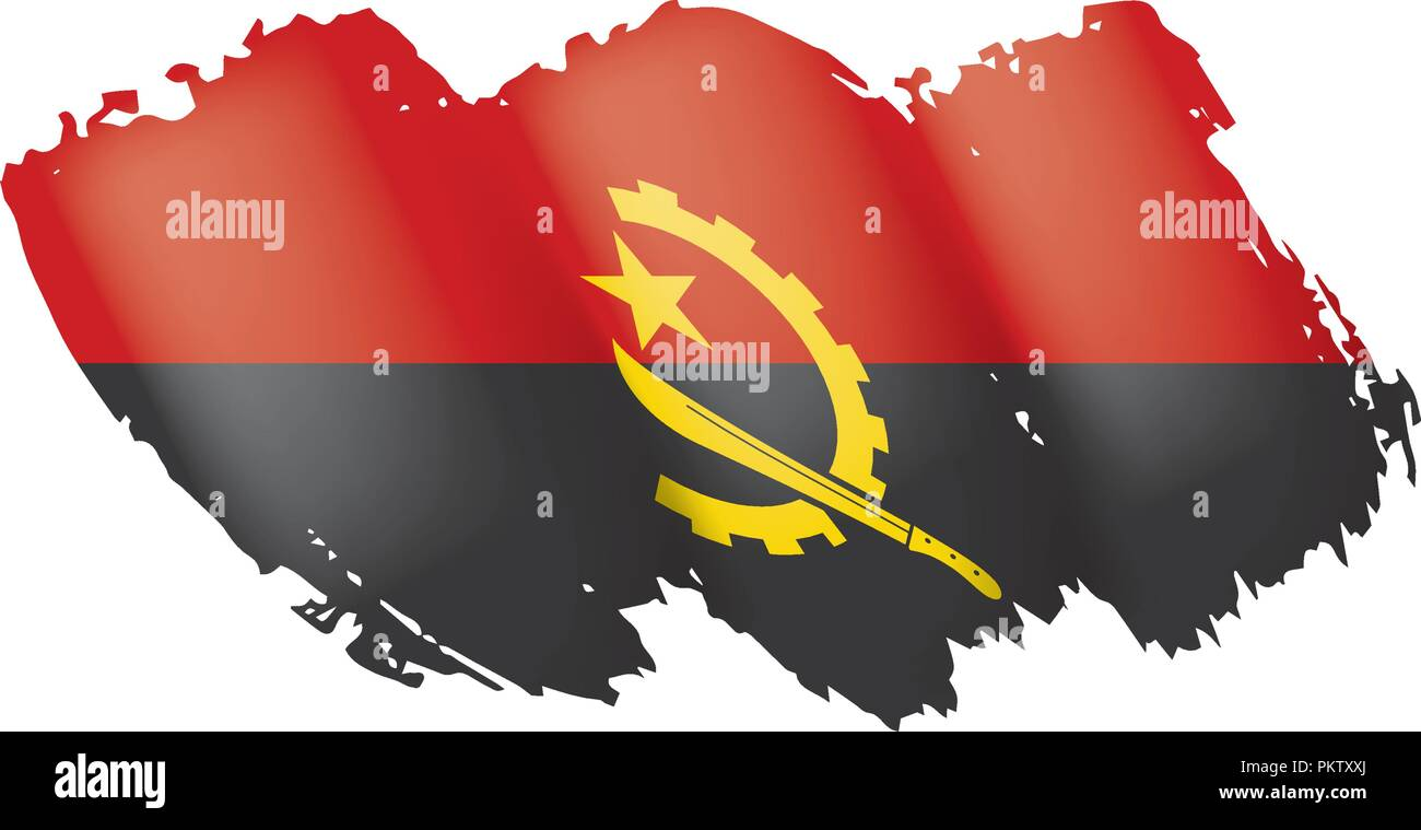 Angola flag, vector illustration on a white background - Stock Image